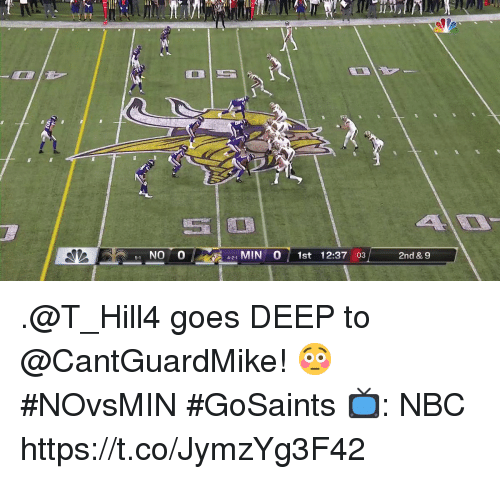 Memes, 🤖, and Nbc: 1 NO 0  421 MIN 0 1st 12:37 :03  5-1  2nd & 9 .@T_Hill4 goes DEEP to @CantGuardMike! 😳 #NOvsMIN #GoSaints  📺: NBC https://t.co/JymzYg3F42