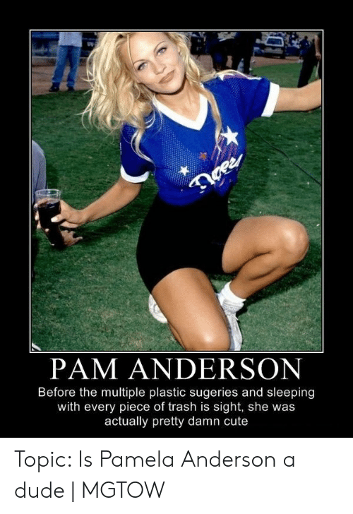 Cute, Dude, and Trash: 1  PAM ANDERSON  Before the multiple plastic sugeries and sleeping  with every piece of trash is sight, she was  actually pretty damn cute Topic: Is Pamela Anderson a dude | MGTOW