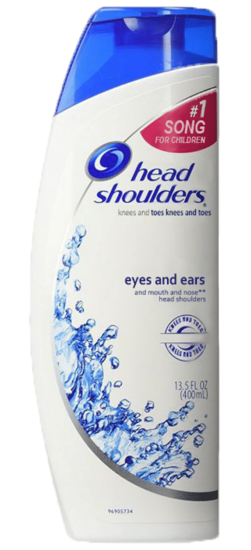 Children, Head, and Song:  #1  SONG  FOR CHILDREN  head  shoulders  knees and toes knees and toes  eyes and ears  and mouth and nose  head shoulders  TaES  13.5 FL 0  (400ml)  96905734