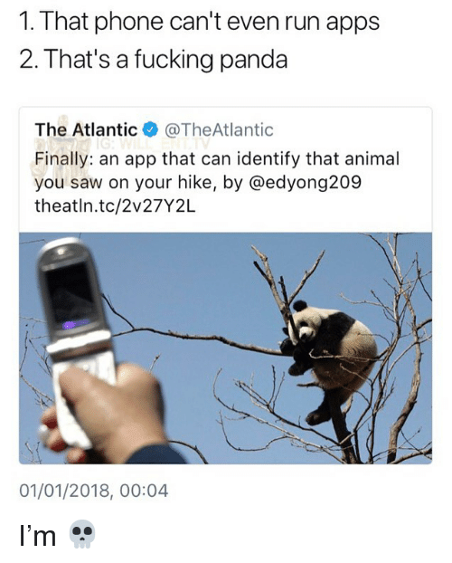 Fucking, Memes, and Phone: 1. That phone can't even run apps  2. That's a fucking panda  The Atlantic·@TheAtlantic  Finally: an app that can identify that animal  you saw on your hike, by @edyong209  theatln.tc/2v27Y2L  01/01/2018, 00:04 I'm 💀