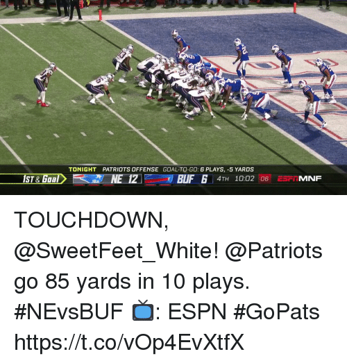 Espn, Memes, and Patriotic: 1  TONIGHT  PATRIOTS OFFENSE GOAL-TO-GO: 6 PLAYS, -5 YARDS  1ST & Goal  NE 12  4TH 10:02 06 ESFi MNF TOUCHDOWN, @SweetFeet_White!  @Patriots go 85 yards in 10 plays. #NEvsBUF  📺: ESPN #GoPats https://t.co/vOp4EvXtfX