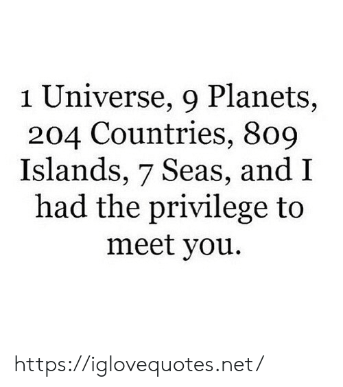 Planets, Net, and Universe: 1 Universe, 9 Planets,  204 Countries, 809  Islands, 7 Seas, and I  had the privilege to  meet you. https://iglovequotes.net/