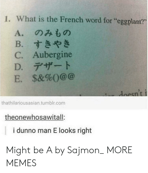 """Dank, Memes, and Target: 1. What is the French word for """"eggplant?""""  L6  A.のみもの  B.すきやき  C. Aubergine  D.デザート  E. $&%()@@  esnt  thathilariousasian.tumblr.com  theonewhosawitall:  i dunno man E looks right Might be A by Sajmon_ MORE MEMES"""