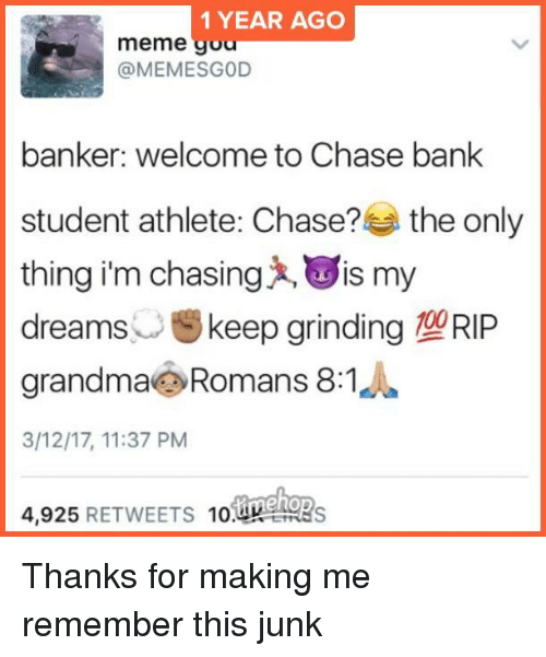 1 YEAR AGO Meme Gou Banker Welcome to Chase Bank Student Athlete