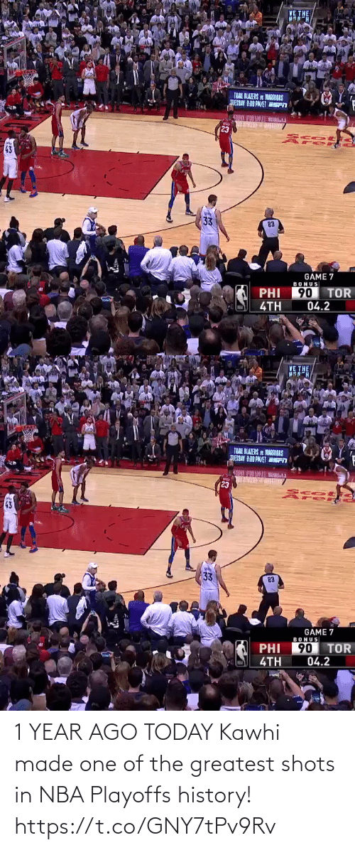 The Greatest: 1 YEAR AGO TODAY  Kawhi made one of the greatest shots in NBA Playoffs history!  https://t.co/GNY7tPv9Rv