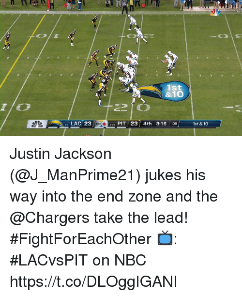Memes, Chargers, and 🤖: 10  20  1st  &10  LAC 23  731 PIT 23 4th 8:16 :08  1st &10 Justin Jackson (@J_ManPrime21) jukes his way into the end zone and the @Chargers take the lead! #FightForEachOther  📺: #LACvsPIT on NBC https://t.co/DLOggIGANI