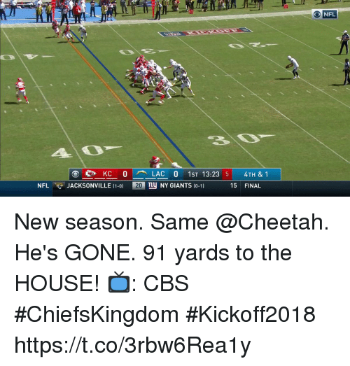 Hes Gone: 10  20  O NFL  4O  en KC O  LAC O 1ST 13:23 5  nu NY GIANTS 10-1)  4TH & 1  NFLJACKSONVILLE (1-0)  20  15 FINAL New season. Same @Cheetah.  He's GONE. 91 yards to the HOUSE!  📺: CBS #ChiefsKingdom #Kickoff2018 https://t.co/3rbw6Rea1y