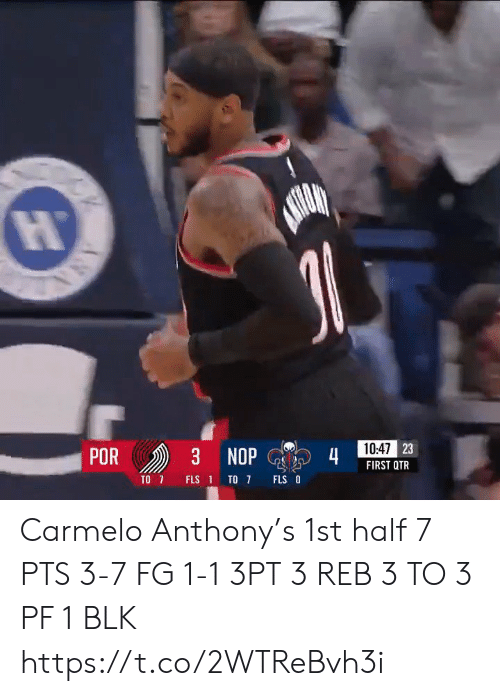 ana: 10:47 23  POR  3 NOP  4  FIRST QTR  TO 7  FLS O  FLS 1 TO 7  ANA Carmelo Anthony's 1st half   7 PTS 3-7 FG 1-1 3PT 3 REB 3 TO 3 PF  1 BLK    https://t.co/2WTReBvh3i