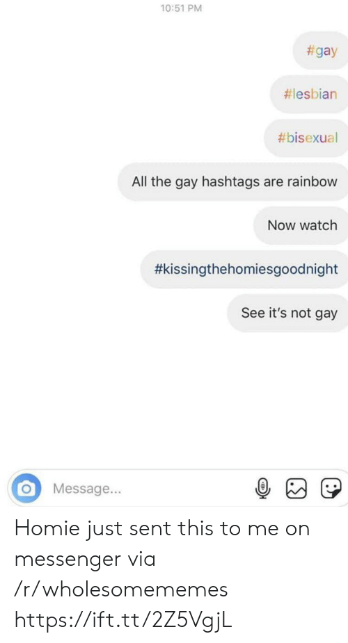 Rainbow: 10:51 PM  #gay  #lesbian  #bisexual  All the gay hashtags are rainbow  Now watch  #kissingthehomiesgoodnight  See it's not gay  Message... Homie just sent this to me on messenger via /r/wholesomememes https://ift.tt/2Z5VgjL