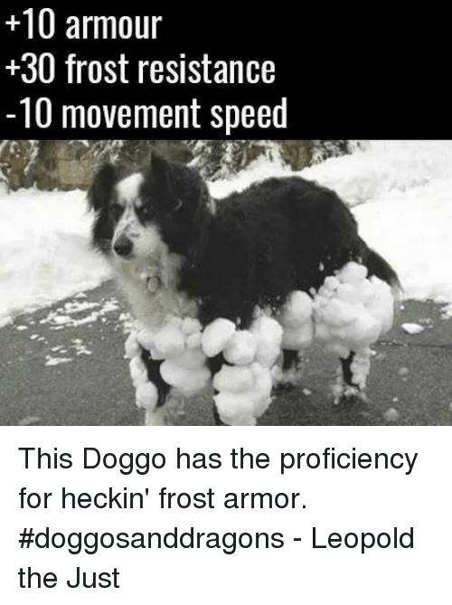 Heckin: +10 armour  30 frost resistance  -10 movement speed This Doggo has the proficiency for heckin' frost armor. #doggosanddragons  - Leopold the Just