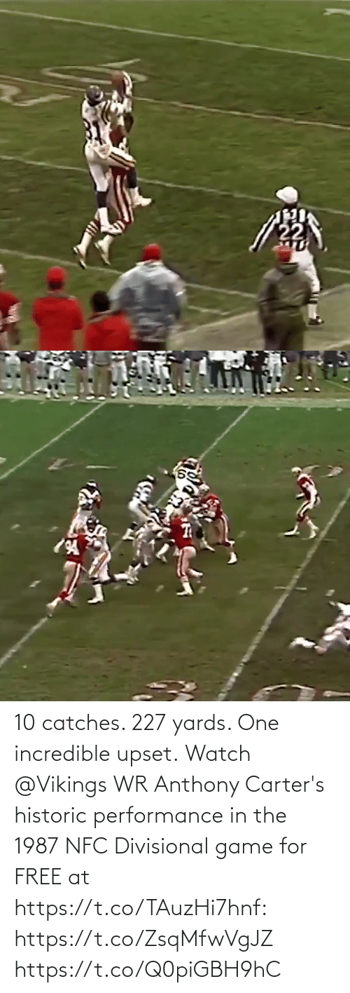Vikings: 10 catches. 227 yards. One incredible upset.  Watch @Vikings WR Anthony Carter's historic performance in the 1987 NFC Divisional game for FREE at https://t.co/TAuzHi7hnf: https://t.co/ZsqMfwVgJZ https://t.co/Q0piGBH9hC