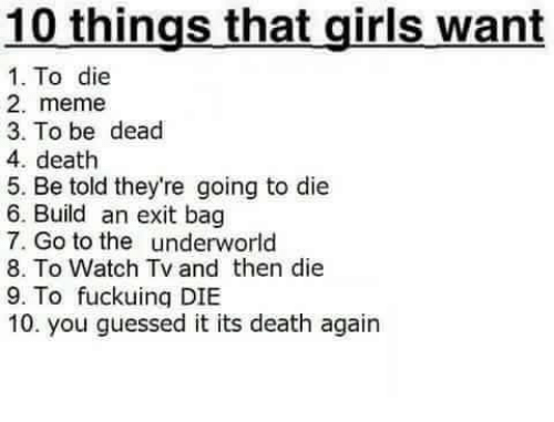 Meme 3: 10 things that girls want  1. To die  2. meme  3. To be dead  4. death  5. Be told they're going to die  6. Build an exit bag  7. Go to the underworld  8. To Watch Tv and then die  9. To fuckuing DIBE  10. you guessed it its death again