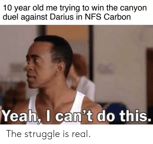The Struggle is Real: 10 year old me trying to win the canyon  duel against Darius in NFS Carbon  Yeah.  I can't do this. The struggle is real.