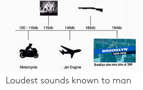 Anaconda, Brooklyn, and Motorcycle: 100 110db 115db  140db  165db  194db  BROOKLYN  NINE-NINE  Brooklyn nine nine intro at 3AM  Motorcycle  Jet Engine Loudest sounds known to man
