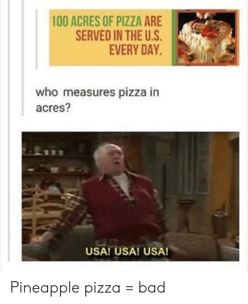 Bad, Pizza, and Pineapple: 100 ACRES OF PIZZA ARE  SERVED IN THE U.S  EVERY DAY  who measures pizza in  acres?  USA! USA! USA! Pineapple pizza = bad