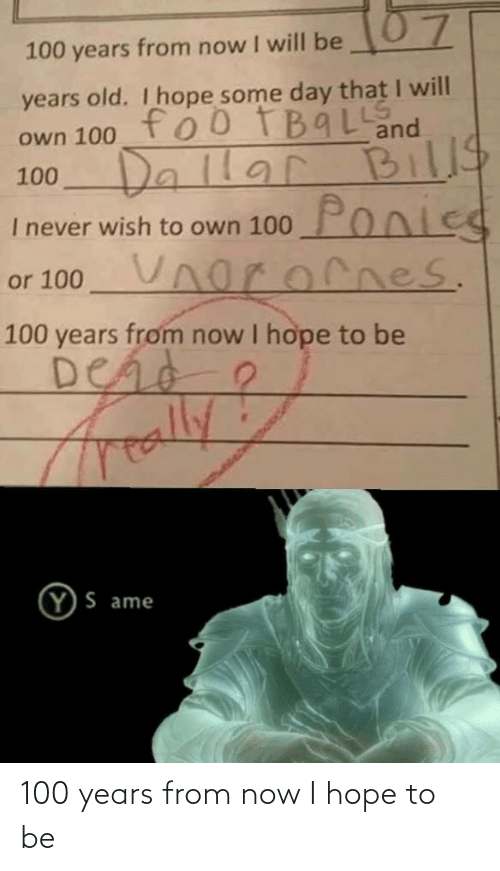 I Hope: 100 years from now I hope to be