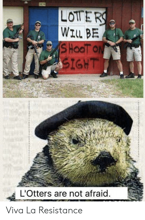 Resistance, Will, and Not Afraid: 1039  LOTERS  WILL BE  SHOOT ON  SIGHT  L'Otters are not afraid.  க Viva La Resistance