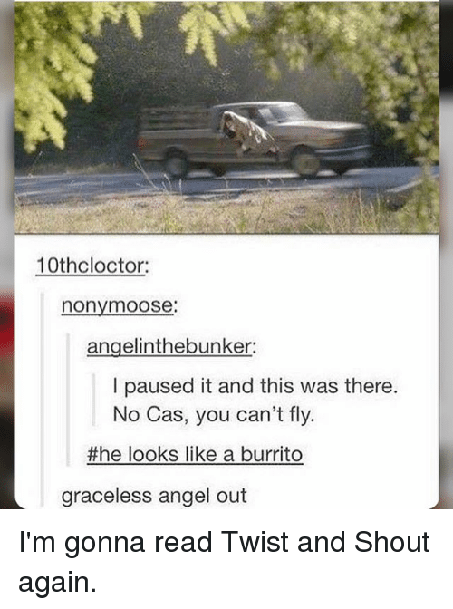 Memes, Angel, and 🤖: 10th cloctor  nonymoose:  angelinthebunker:  I paused it and this was there.  No Cas, you can't fly  the looks like a burrito  graceless angel out I'm gonna read Twist and Shout again.