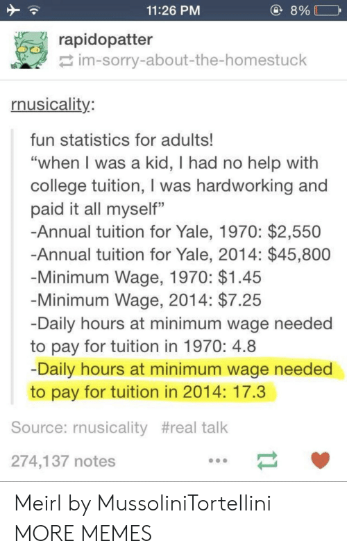 """College, Dank, and Memes: 11:26 PM  8%  rapidopatter  im-sorry-about-the-homestuck  rnusicality  fun statistics for adults!  """"when l was a kid, I had no help with  college tuition, I was hardworking and  paid it all myself""""  -Annual tuition for Yale, 1970: $2,550  Annual tuition for Yale, 2014: $45,800  Minimum Wage, 1970: $1.45  Minimum Wage, 2014: $7.25  Daily hours at minimum wage needed  to pay for tuition in 1970: 4.8  Daily hours at minimum wage needed  to pay for tuition in 2014: 17.3  Source: rnusicality #real talk  274,137 notes Meirl by MussoIiniTorteIIini MORE MEMES"""