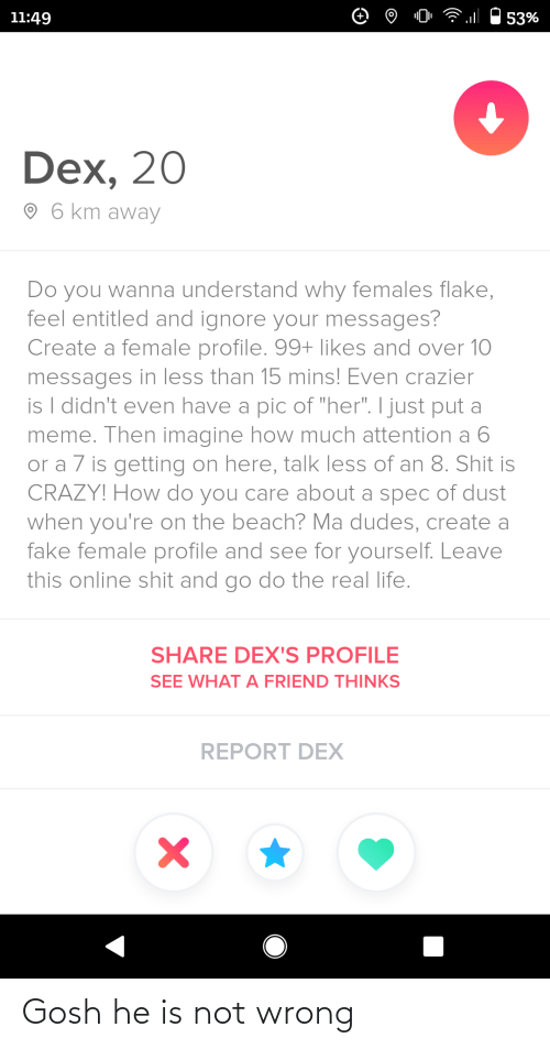 "much: 11:49  53%  Dex, 20  O 6 km away  Do you wanna understand why females flake,  feel entitled and ignore your messages?  Create a female profile. 99+ likes and over 10  messages in less than 15 mins! Even crazier  is I didn't even have a pic of ""her"". I just put a  meme. Then imagine how much attention a 6  or a 7 is getting on here, talk less of an 8. Shit is  CRAZY! How do you care about a spec of dust  when you're on the beach? Ma dudes, create a  fake female profile and see for yourself. Leave  this online shit and go do the real life.  SHARE DEX'S PROFILE  SEE WHAT A FRIEND THINKS  REPORT DEX Gosh he is not wrong"