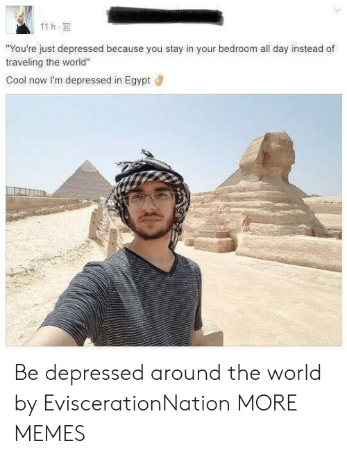 "Dank, Memes, and Target: 11 h  You're just depressed because you stay in your bedroom all day instead of  traveling the world""  Cool now I'm depressed in Egypt Be depressed around the world by EviscerationNation MORE MEMES"