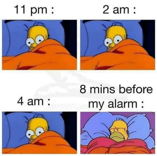 Memes, Alarm, and 🤖: 11 pm  2 am  8 mins before  my alarm  4 am