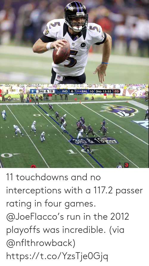 incredible: 11 touchdowns and no interceptions with a 117.2 passer rating in four games.  @JoeFlacco's run in the 2012 playoffs was incredible. (via @nflthrowback) https://t.co/YzsTje0Gjq