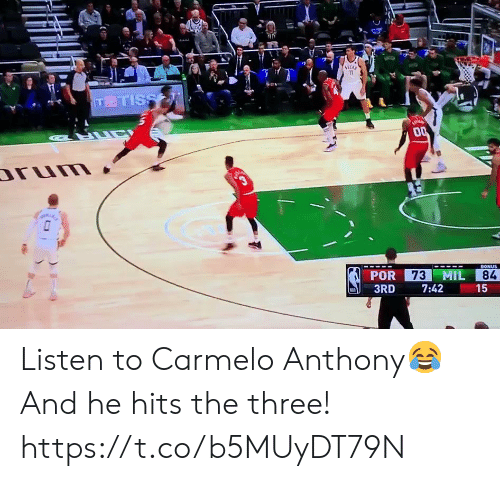mil: 11  TTISS  LUC  00  rum  3  73 MIL  BONUS  POR  84  3RD  7:42  15  ( Listen to Carmelo Anthony😂  And he hits the three!  https://t.co/b5MUyDT79N