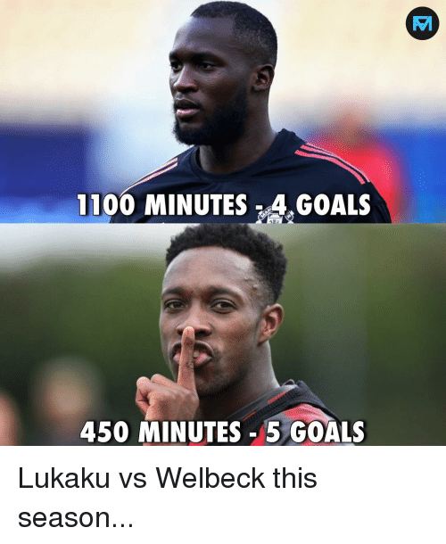 Goals, Memes, and 🤖: 1100 MINUTES 4.GOALS  450 MINUTES - 5 GOALS Lukaku vs Welbeck this season...