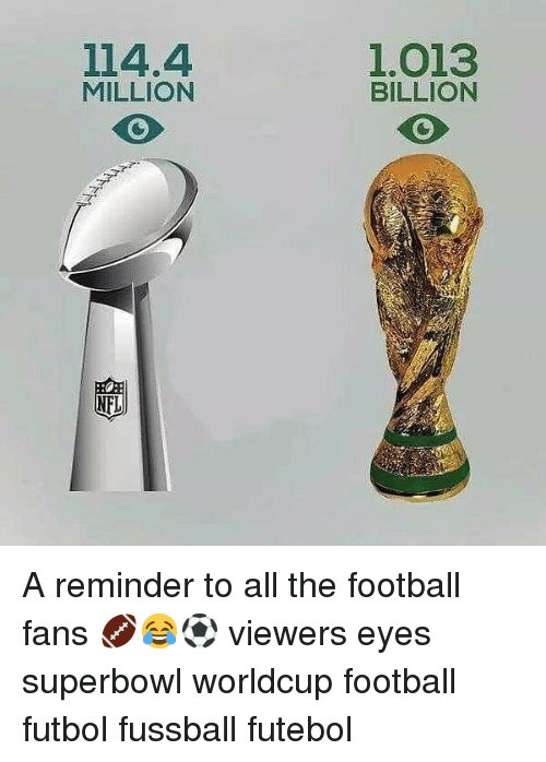 Football, Memes, and Superbowl: 114.4  MILLION  1.013  BILLION A reminder to all the football fans 🏈😂⚽️ viewers eyes superbowl worldcup football futbol fussball futebol