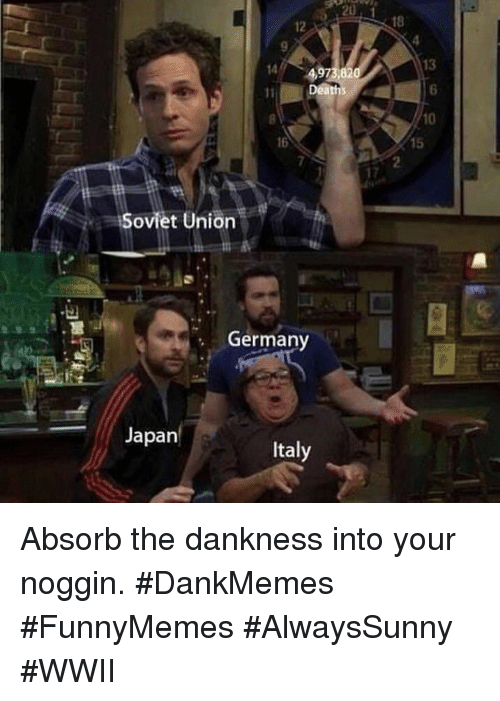 Germany, Japan, and Italy: 12  18  13  6  10  14  1Dea  16  15  7  Soviet Union  Germany  Japan  Italy Absorb the dankness into your noggin. #DankMemes #FunnyMemes #AlwaysSunny #WWII