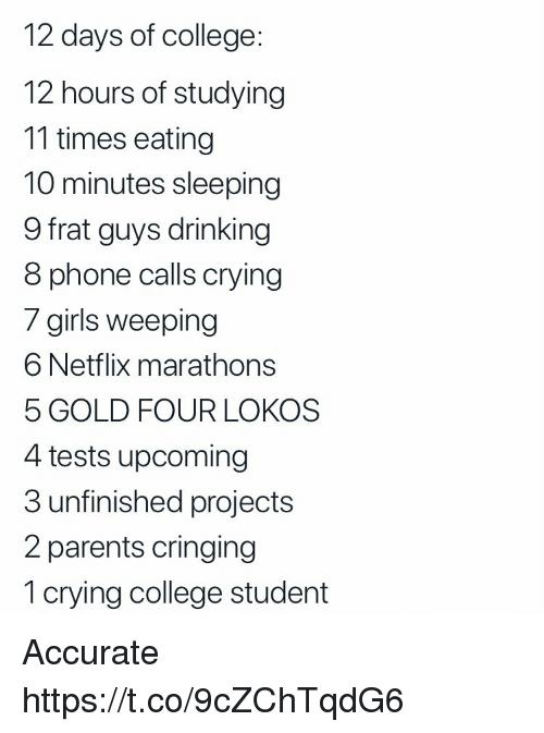College, Crying, and Drinking: 12 days of college:  12 hours of studying  11 times eating  10 minutes sleeping  9 frat guys drinking  8 phone calls crying  / girils weeping  6 Netflix marathons  5 GOLD FOUR LOKOS  4 tests upcoming  3 unfinished projects  2 parents cringing  1 crying college student Accurate https://t.co/9cZChTqdG6