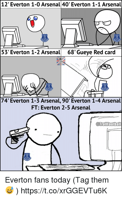 Arsenal, Everton, and Memes: 12' Everton 1-0 Arsenal 40' Everton 1-1 Arsenal  53' Everton 1-2 Arsenal  68'Gueye Red card  Everton  Everton  74' Everton 1-3 Arsenal, 90' Everton 1-4 Arsenal  FT: Everton 2-5 Arsenal  @trollfootba  @TrolFoothall Everton fans today (Tag them 😅 ) https://t.co/xrGGEVTu6K