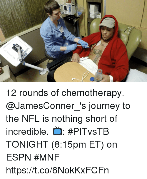 Espn, Journey, and Memes: 12 rounds of chemotherapy.  @JamesConner_'s journey to the NFL is nothing short of incredible.  📺: #PITvsTB TONIGHT (8:15pm ET) on ESPN #MNF https://t.co/6NokKxFCFn