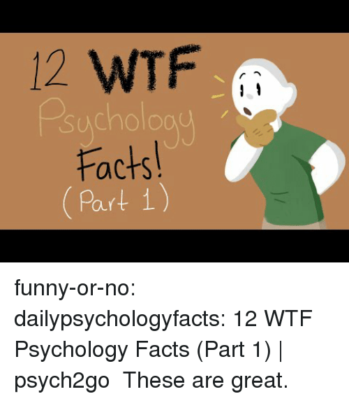 Facts, Funny, and Gif: 12 WTF  sucholoau  Facts  Part 1 funny-or-no: dailypsychologyfacts: 12 WTF Psychology Facts (Part 1) | psych2go  These are great.