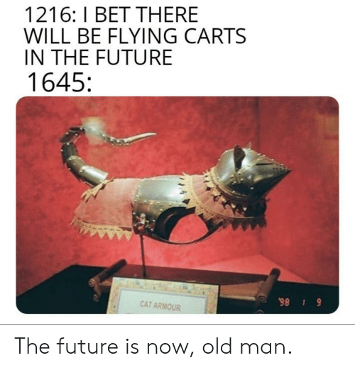 The Future Is Now: 1216: I BET THERE  WILL BE FLYING CARTS  IN THE FUTURE  1645  CAT ARMOUR  6 86 The future is now, old man.