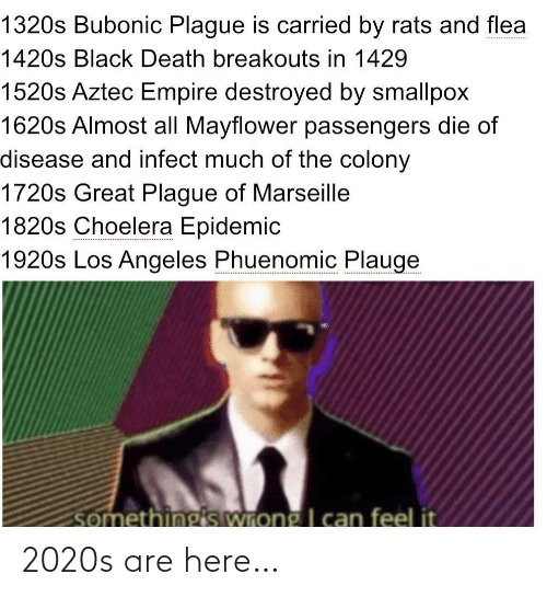 Empire: 1320s Bubonic Plague is carried by rats and flea  1420s Black Death breakouts in 1429  1520s Aztec Empire destroyed by smallpox  1620s Almost all Mayflower passengers die of  disease and infect much of the colony  1720s Great Plague of Marseille  1820s Choelera Epidemic  1920s Los Angeles Phuenomic Plauge  somethings wrong I can feel it 2020s are here…