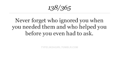 Never, Ask, and Com: 138/365  Never forget who ignored you when  you needed them and who helped you  before you even had to ask.  TYPELIKEAGIRLTUMBLR.COM