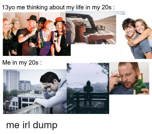 Life, Irl, and Me IRL: 13yo me thinking about my life in my 20s:  Me in my 20s: me irl dump
