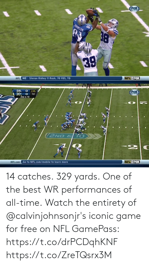 Iconic: 14 catches. 329 yards. One of the best WR performances of all-time.  Watch the entirety of @calvinjohnsonjr's iconic game for free on NFL GamePass: https://t.co/drPCDqhKNF https://t.co/ZreTQsrx3M