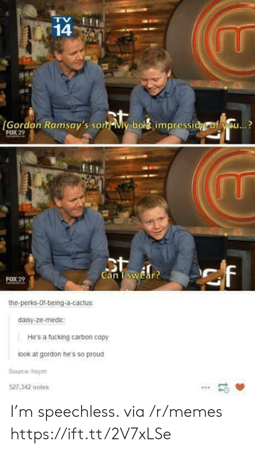 Fucking, Memes, and Proud: 14  [Gordon Ramsay's som My bet impressid of you...?  FOX 29  St  Can I swear?  ef  FOX 29  the-perks-Of-being-a-cactus  daisy-ze-medic:  He's a fucking carbon copy  look at gordon he's so proud  Source: hsym  527,342 notes I'm speechless. via /r/memes https://ift.tt/2V7xLSe