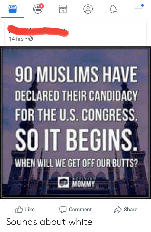 White, Congress, and Will: 14 hrs .  90 MUSLIMS HAVE  DECLARED THEIR CANDIDACY  FOR THE U.S. CONGRESS  SO IT BEGINS  WHEN WILL WE GET OFF OUR BUTTS?  MOMMY  Like  Share  Comment  (OC Sounds about white