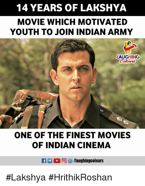 Movies, Army, and Movie: 14 YEARS OF LAKSHYA  MOVIE WHICH MOTIVATED  YOUTH TO JOIN INDIAN ARMY  LAUGHINO  Colowrs  ONE OF THE FINEST MOVIES  OF INDIAN CINEMA  12 % 向 /laughingcolours #Lakshya #HrithikRoshan