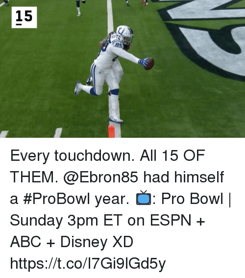 probowl: 15 Every touchdown. All 15 OF THEM. @Ebron85 had himself a #ProBowl year.  📺: Pro Bowl   Sunday 3pm ET on ESPN + ABC + Disney XD https://t.co/I7Gi9lGd5y