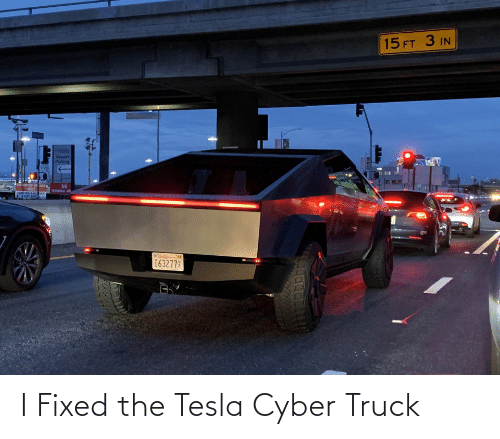 Tesla, Parking, and Truck: 15 FT 3 IN  Airport  Parking  NO  TEEMMAL A  INLY  63277 I Fixed the Tesla Cyber Truck