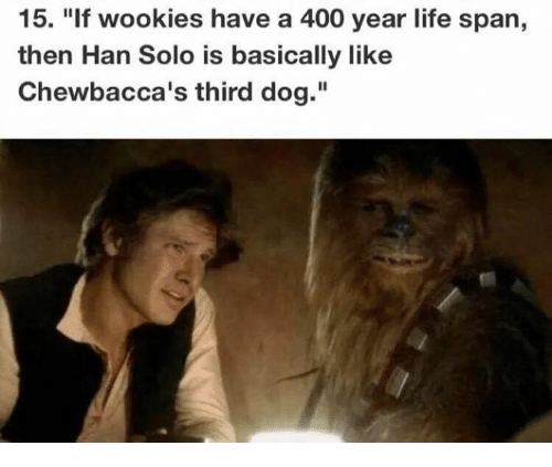 "wookies: 15. ""If wookies have a 400 year life span,  then Han Solo is basically like  Chewbacca's third dog."""