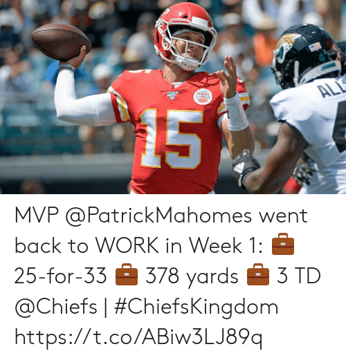 Memes, Work, and Chiefs: 15  JAGUARS  ALL MVP @PatrickMahomes went back to WORK in Week 1:  💼 25-for-33 💼 378 yards 💼 3 TD   @Chiefs | #ChiefsKingdom https://t.co/ABiw3LJ89q
