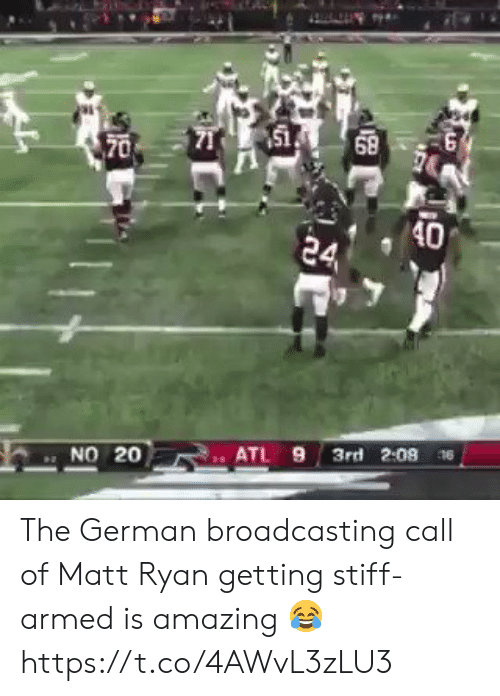 Football, Nfl, and Sports: 151  68  70  40  24  3rd 2:08 6  ATL 9  NO 20 The German broadcasting call of Matt Ryan getting stiff-armed is amazing 😂 https://t.co/4AWvL3zLU3