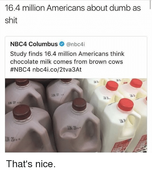 Columbusing: 16.4 million Americans about dumb as  shit  NBC4 Columbus  Canbc4i  Study finds 16.4 million Americans think  chocolate milk comes from brown cows  #NBC4 nbc4i.co/2tva 3At That's nice.