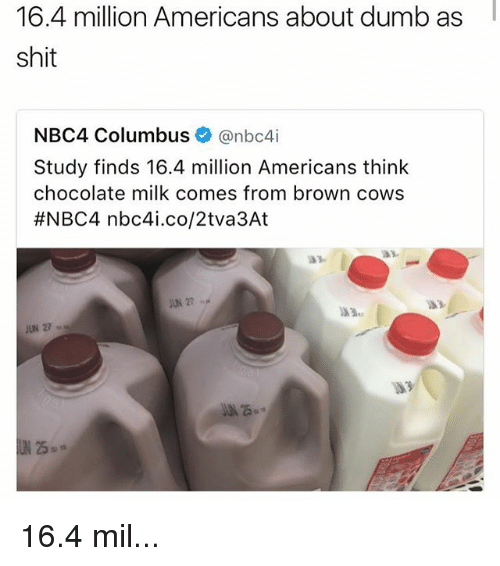 Columbusing: 16.4 million Americans about dumb as  shit  NBC4 Columbus  @nbc4i  Study finds 16.4 million Americans think  chocolate milk comes from brown cows  #NBC4 nbc4i.co/2tva3At  JUN 27 16.4 mil...